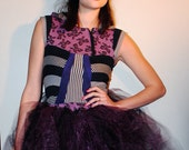 purple and black jersey knit prom dress with tulle skirt- an upcycled , modern, and one of a kind high fashion dress