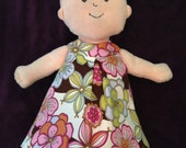 Little Reversible Dress in Brown Flower and Purple Dot for Baby Stella, Waldorf and 13, 14, 15, 16 Inch Dolls, Doll,Clothes
