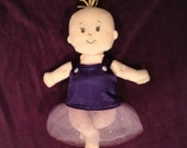 Reversible Tutu Dress in Purple and Hot Pink Satin for Baby Stella, Bitty Baby, Waldorf and 13, 14, 15, 16 Inch Dolls, Doll Clothing