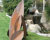 "Garden Sculpture.  ""You get to name it""  Welded steel construction.  Rust finish"