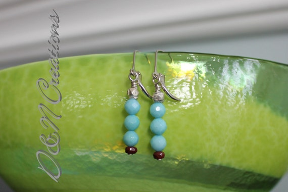 Blue Faceted Larimar and Silver Beaded Earrings