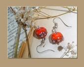 Orange glass beads / lampwork earrings
