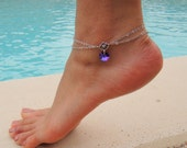 Double Chain Anklet with Swarovski Crystal Heart Pendant in Heliotrope