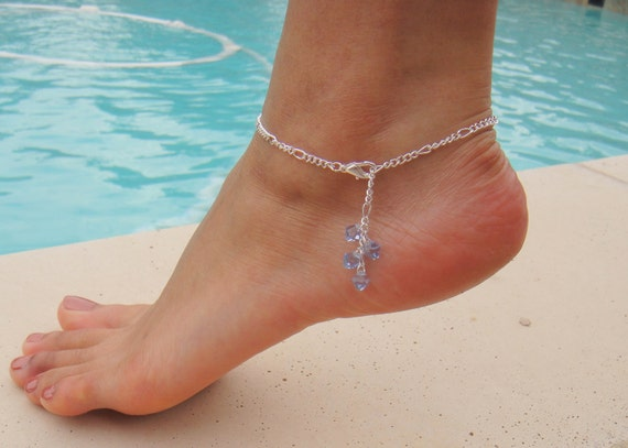 Silver Chain Anklet with Swarovski Crystal Light Sapphire