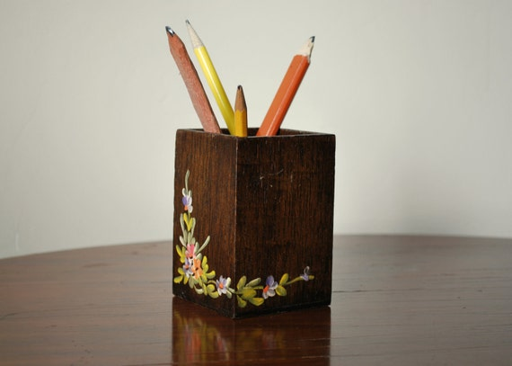Vintage Hand Painted Pencil Holder