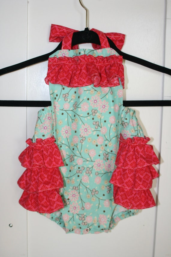 """SALE---Baby Girl Sunsuit Ruffle Romper """"Blossom Baby"""" boutique custom hand made"""