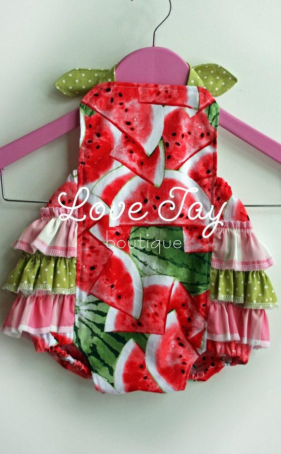"""SALE-Baby Sunsuit Ruffle Romper """"Watermelon Delight"""" boutique children clothing"""