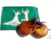Felt purse, pouch for castanets, cosmetic bag, castanuelas, needle felted, flamenco dancer, green and white