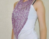 Purple Lavender Triangle Knit Cotton Circle Scarf / OOAK Clothing / Summer Wear /