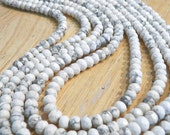 5 Strands of 5mm White Marbled Faceted Agate Rondelle Beads