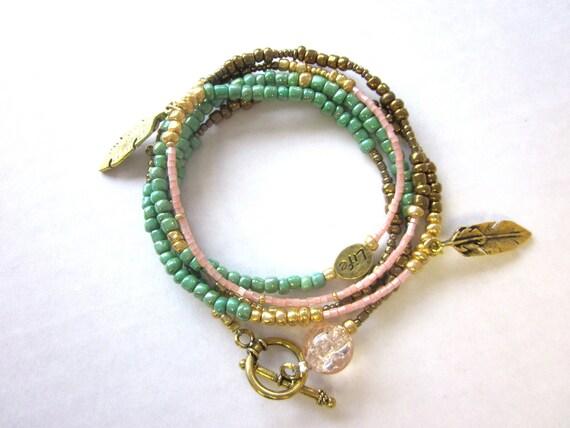 Multi Wrap Feather Bracelet/Necklace