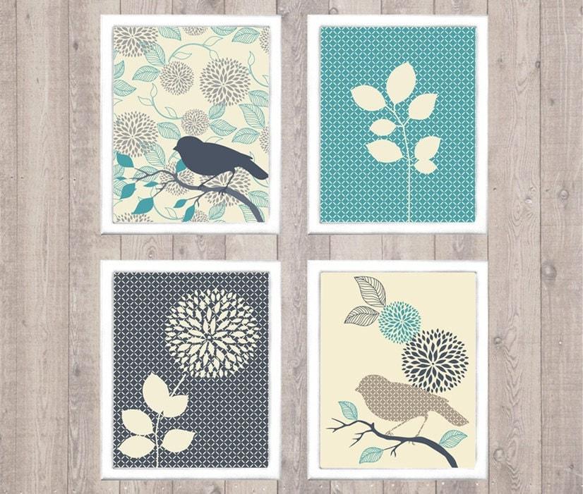 Bird & Flower Digital Printable Wall Art Print By