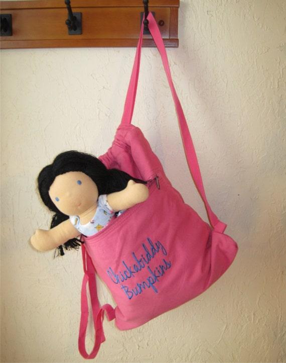 Pink Drawstring Backpack with Zipper Pocket - Overnight Bag, Everday Backpack, or Laptop Bag