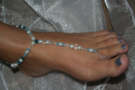 Something Blue and sparkley for your Feet.  Anklet & Toe Ring  equals Barefoot Sandals