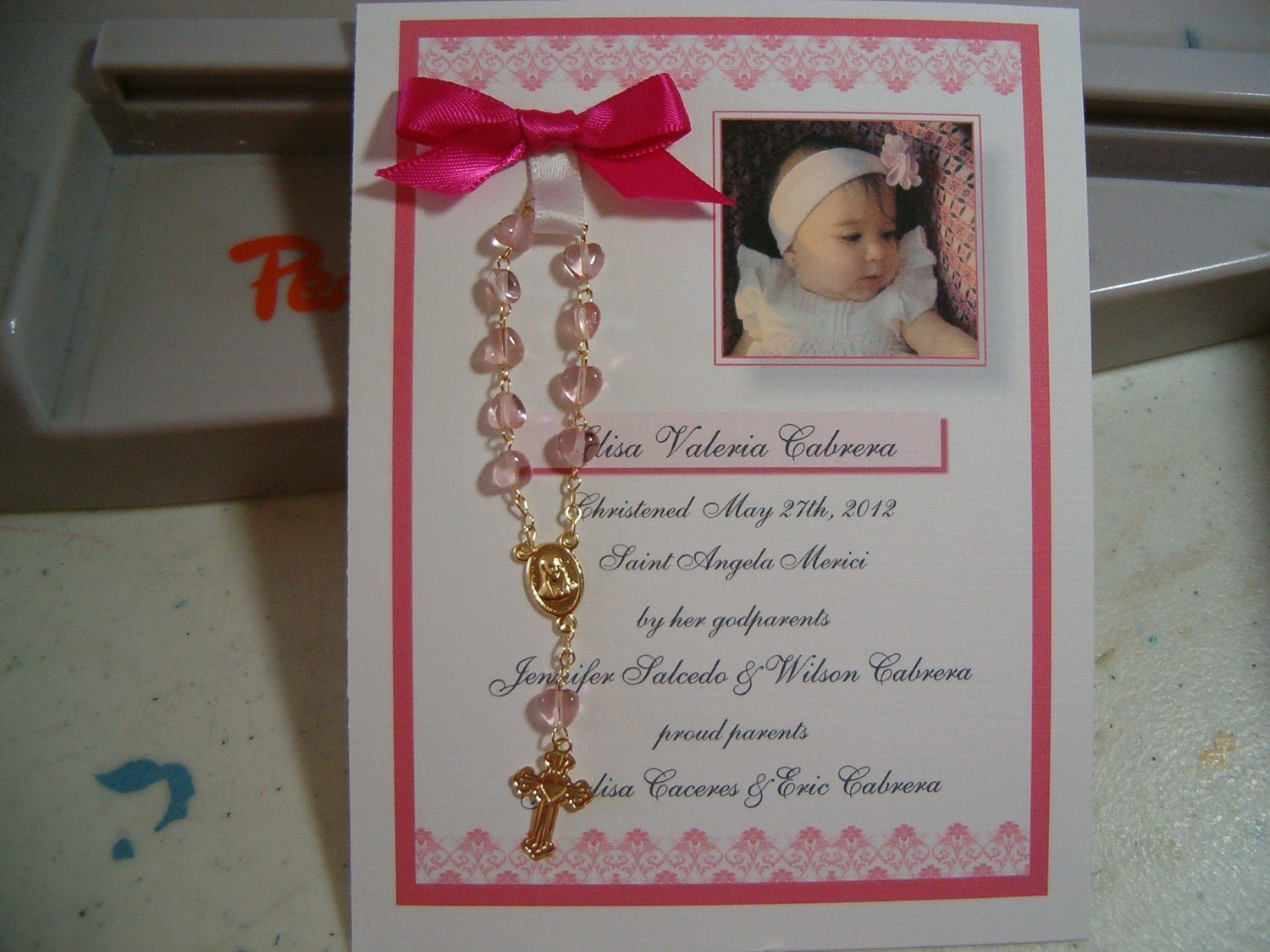 20 BAPTISM FAVORS Rosary Card
