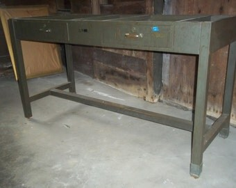 Vintage Industrial Iron Lab/Science Table