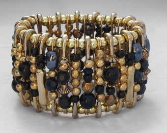 Safety Pin Bracelet - Ancient Egyptian Gold and Black