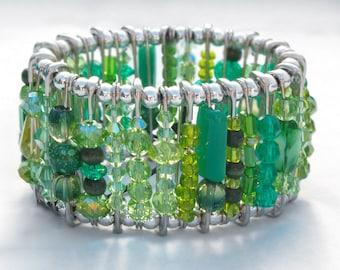 Safety Pin Bracelet - Emerald Green
