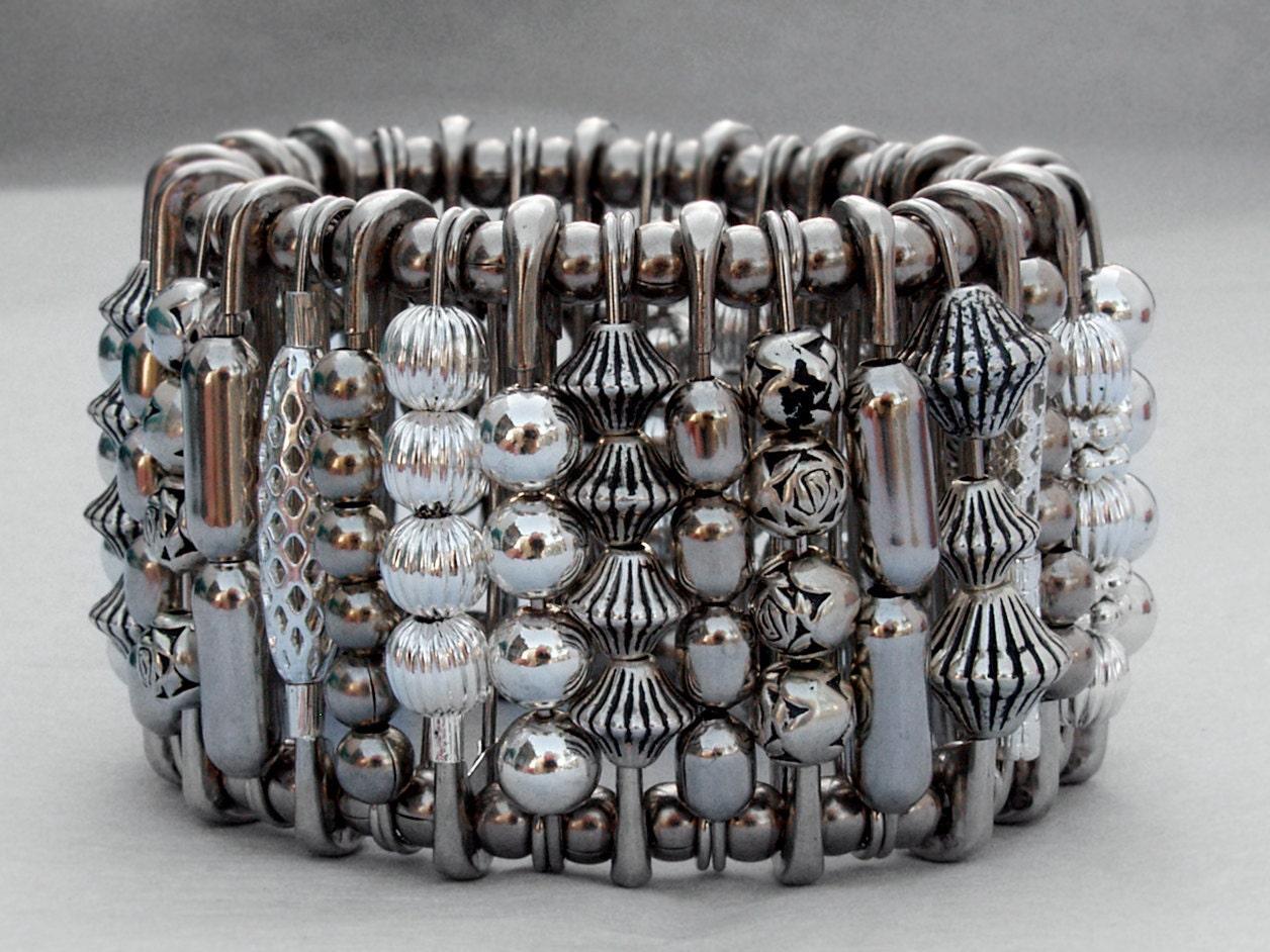 safety pin bracelet warrior cuff silver