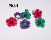 Set of 3 - flower polymer clay post earrings - green, violet, crimson