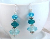 Ocean Blue Crystal, Glass Bead, & Silver Drop Earrings, Blue Jewelry, Blue, Birthday Gifts, Gifts for Grads, Bridesmaids Jewelry