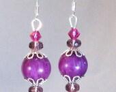 Fuchsia Jade, Crystal & Silver Drop Earrings, Purple Jewelry, Pink Jewelry, Purple Earrings, Pink Earrings, Gifts for Women, Summer