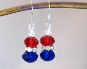 Red, White, & Blue Earrings, Fourth of July, Patriotic Jewelry, Red Jewelry, Summer Olympics, London 2012, Summer Jewelry