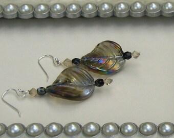 Iridescent Smoky Purple Leaf & Swarovski Crystal Earrings, Purple Jewelry, Leaf Jewelry, Birthday Gifts, Fall Jewelry