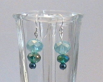 Aqua Fire-Polished Czech Glass Bead and Pearl Earrings, Blue Jewelry, Aqua Blue, Birthday Gifts, Gifts for Grads, Bridesmaids Jewelry