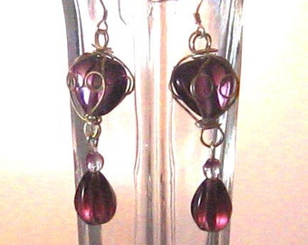Purple Crystal & Heart Wire-Wrapped Glass Bead Drop Earrings, Purple Jewelry, Purple, Bridesmaids Jewelry, Birthday Gifts