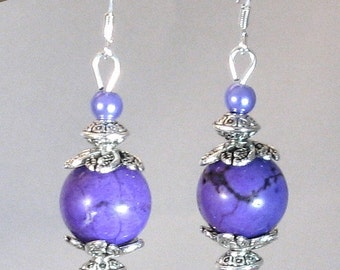 "Purple ""Gumball"" Stone, Pearl & Silver Drop Earrings, Purple Jewelry, Purple Earrings, Purple, Grape,Gifts for Women, Birthday Gifts, Summer"