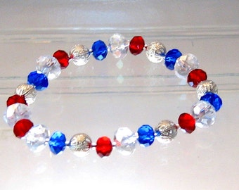 Red, White and Blue Crystal Stretch Bracelet, Patriotic Jewelry, Fourth of July, Red Jewelry, Summer Olympics, London 2012