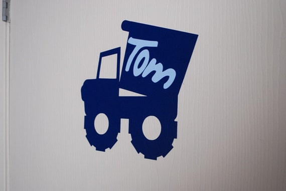 Tractor Decal With Boy Name - Personalized Name Vinyl Decal with Tractor - Tractor Wall Decal with Childs Name - Customized Wall Decal