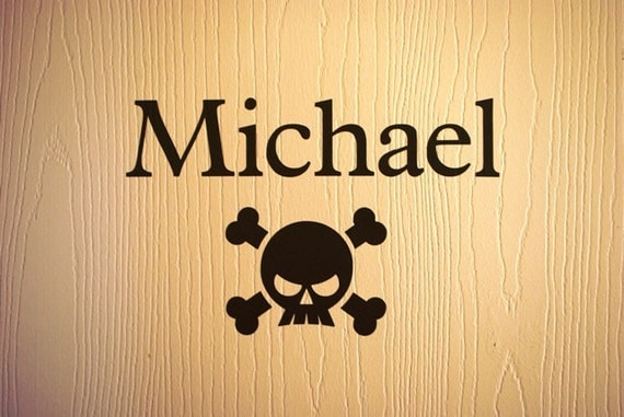 Custom Decal for Boy's Room with Pirate Skull and Crossbones - Personalized Vinyl Wall Decal for Bedroom Door - Removable Room Decor