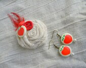 Vintage button fabric pin and matching earrings