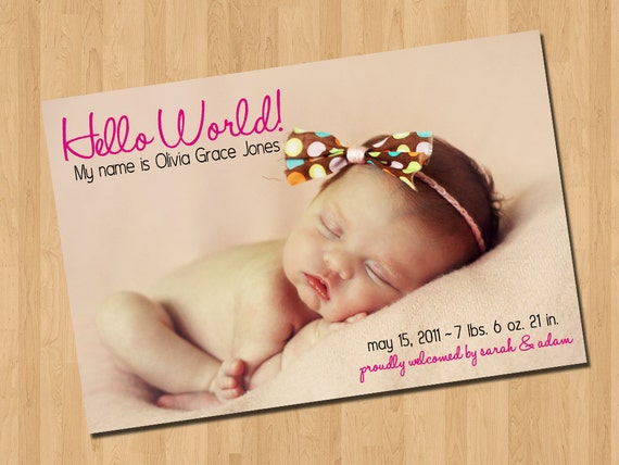 Hello World Baby Girl Birth Announcement I By Codedesignstudio