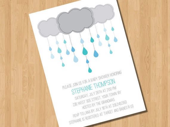 Baby Boy Showering Cloud  Shower Invitation - Item #18