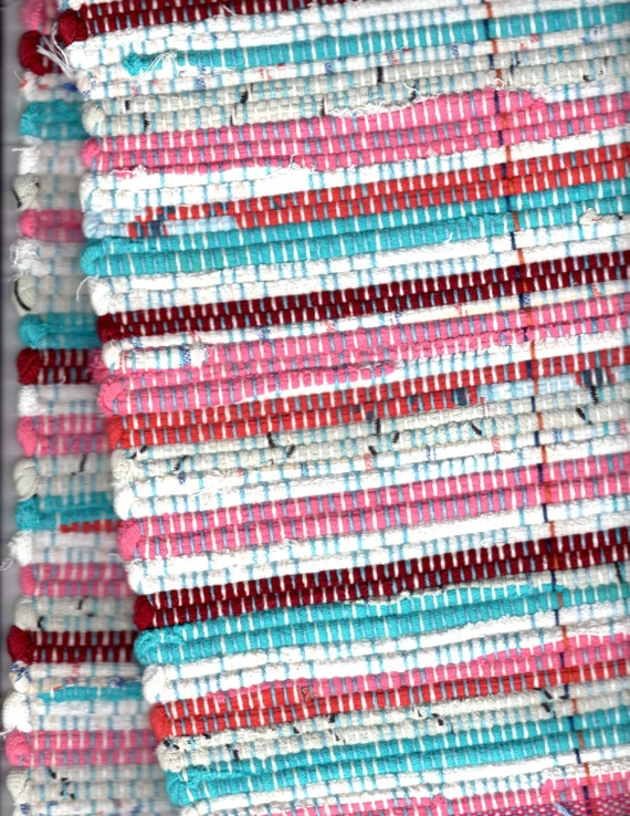 """Handwoven Cottage Style Rag Rug 20"""" x 30"""" in Aqua, Pink, Red and White FREE SHIPPING within USA"""
