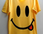 """Happy Face """"Dont Worry be"""" Smiley Rock T-Shirt 80's M"""