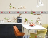 PEEL and STICK Removable Vinyl Kids Wall Decal Wall Sticker - Coffee Time in the Kitchen