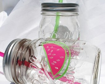 Watermelon Real Simple Mason Jar Drinks with Pink or Lime Green Reusable BPA Free Straw TWO 16oz