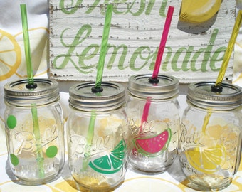 Real Simple Mason Jar Mix and Match POLKA DOT Party Sippers with matching Reusable BPA Free Straw (4)