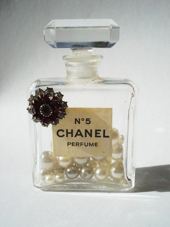 Vintage Authentic Chanel No 5 Perfume Miniature Bottle embellished with RED Rhinestones