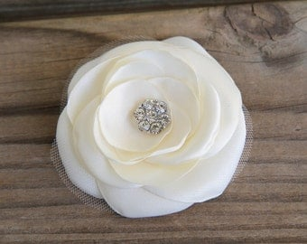Bridal Hair Flower - Bridal Hair Accessory - Ivory Flower clip - Satin Flower - Crystal Clear Rhinestone - Wedding Hair