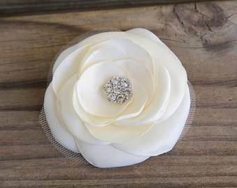 Bridal Hair Flower - Bridal Hair Accessory - Ivory Flower clip - Satin Flower - Crystal Clear Rhinestone - Wedding Hair