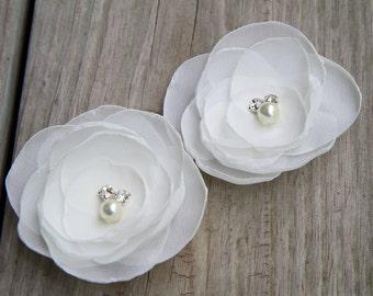 Light Ivory Bridal Hair Flowers( set of 2) - Bridal Hair Accessory - Wedding Headpiece - Chiffon - Pearls - Rhinestone - Bridal Headpiece