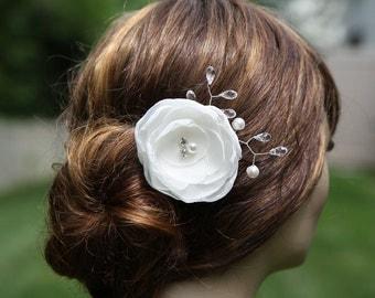 Bridal Hair Flower Clip - Bridal Hair Accessory - Ivory Bridal Head Piece  - Swarovski Crystal  - Swarovski Pearls -   Rhinestone - Wedding