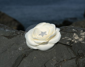 Bridal Hair Flower - Bridal Hair Accessory - Ivory Flower clip - Satin Flower - Starfish Rhinestone - Wedding Hair