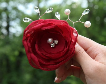 Bridal Hair Flower Clip - Bridal Hair Accessory - Red Bridal Hair Flower  - Swarovski Crystal  - Swarovski Pearls -  Rhinestone - Wedding