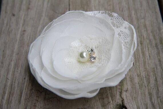 Bridal Hair Flower - Bridal Hair Accessory - Ivory Flower clip - Chiffon Flower - Lace - Crystal Clear Rhinestone - Pearl - Wedding Hair